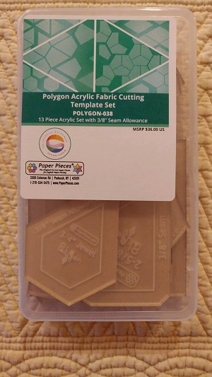"Polygon Acrylic Templates Set with a 3/8"" seam allowance for EPP"